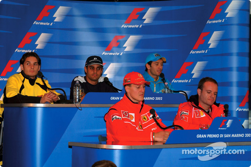 Thursday press conference: Michael Schumacher and Rubens Barrichello at the front, Giancarlo Fisiche