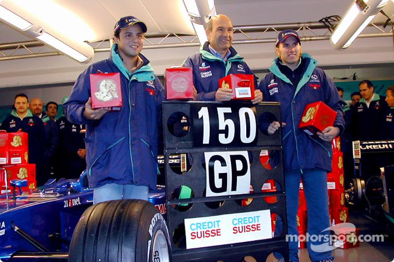 150 Grands Prix for Team Sauber: Felipe Massa, Peter Sauber and Nick Heidfeld