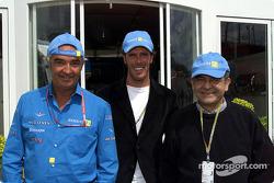 Falvio Briatore, cyclist Mario Cipollini and Renault Italy President J.J. Osmandjiand