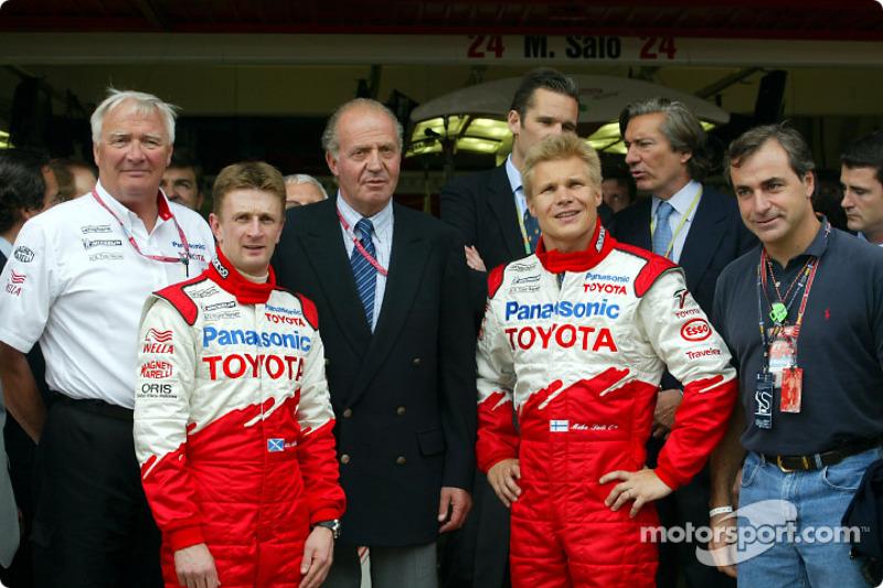 Ove Andersson, Allan McNish, El Rey Juan Carlos, Mika Salo y Carlos Sainz