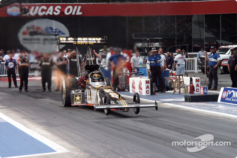 Tony Schumacher launches the Army Top Fuel car