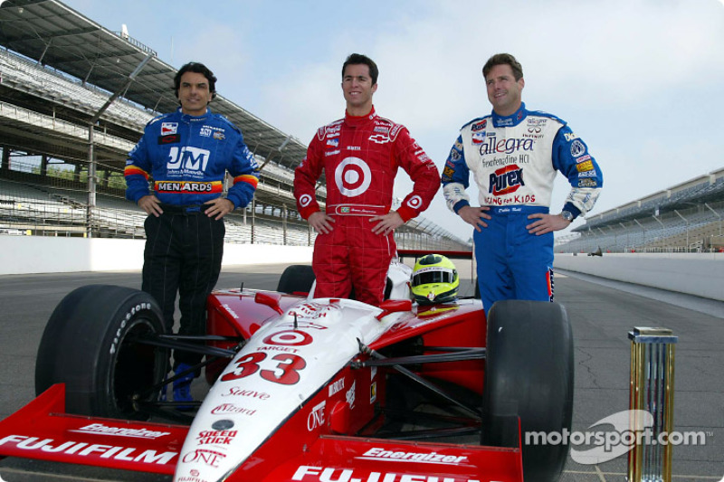 Front row of the 86th running of the Indianapolis 500: Raul Boesel, Robbie Buhl and pole winner Bruno Junqueira