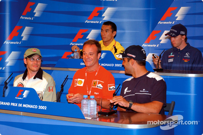 Wednesday press conference: Jacques Villeneuve, Rubens Barrichello and Juan Pablo Montoya at the fro