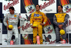 The podium: race winner Laurent Aiello with Bernd Schneider and Alain Menu