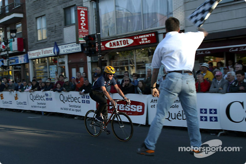 Sauber Petronas team manager Beat Zehnder participating in the celebrity Cycling race; he finished t