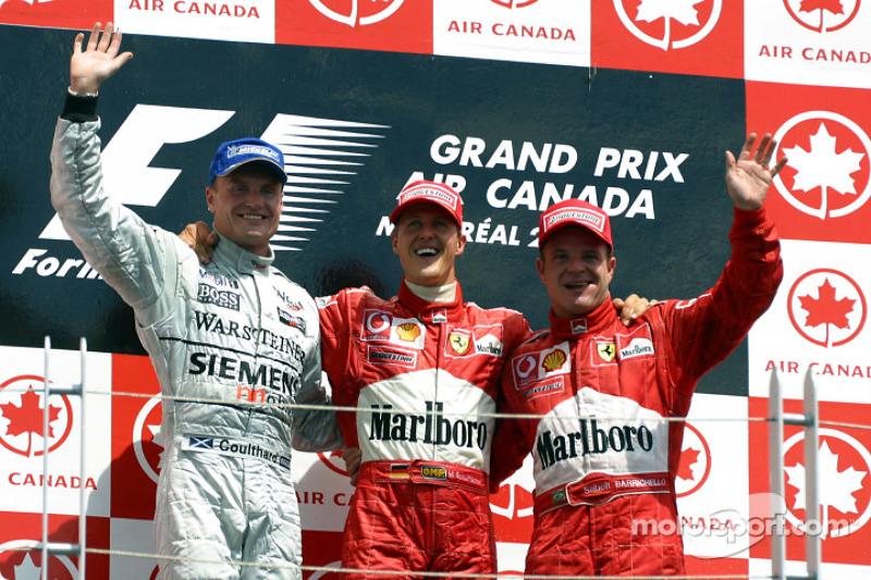 2002 - 1. Michael Schumacher, 2. David Coulthard, 3. Rubens Barrichello