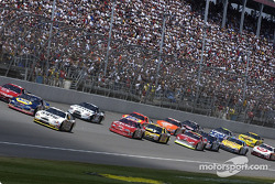 Dale Jarrett leading the start of the SIRIUS 400, with Michael Waltrip and Bill Elliott