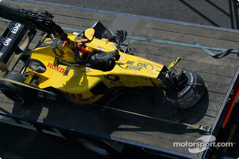 Giancarlo Fisichella's Jordan-Honda after the accident