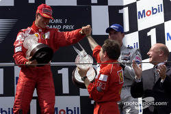 The podium: Michael Schumacher, Jean Todt and David Coulthard