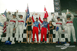 The podium: overall race winners Jan Magnussen and David Brabham, with Emanuele Pirro, Frank Biela, Tom Kristensen and Rinaldo Capello