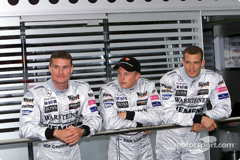 Mclaren Mercedes announcing their drivers lineup for 2003: David Coulthard, Kimi Raikkonen and Alexander Wurz