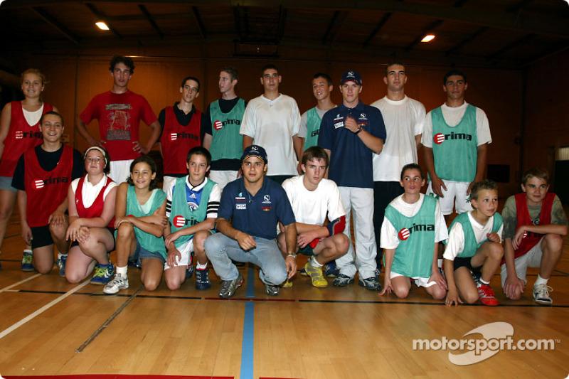 Visita al Malmedy Handball Club y el Badminton Club de Malmedy: Nick Heidfeld y Felipe Massa