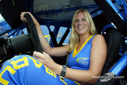 Subaru World Rally Team girl Nina behind the wheel