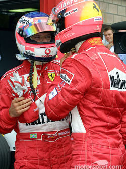 Pole winner Michael Schumacher and Rubens Barrichello