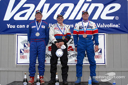 The podium: race winner Bob Weber with Dan Collishaw and Ron Bartell