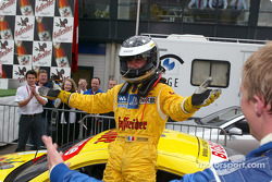 Laurent Aiello celebrates his DTM 2002 Championship title