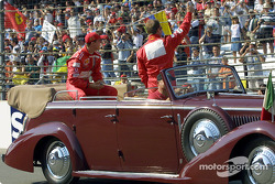 Drivers' parade: Michael Schumacher and Rubens Barrichello