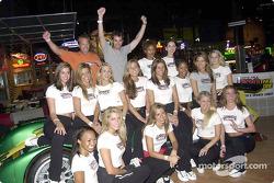 Special Olympics charity fund-raiser: Bryan Herta and Bill Auberlen with cheerleaders
