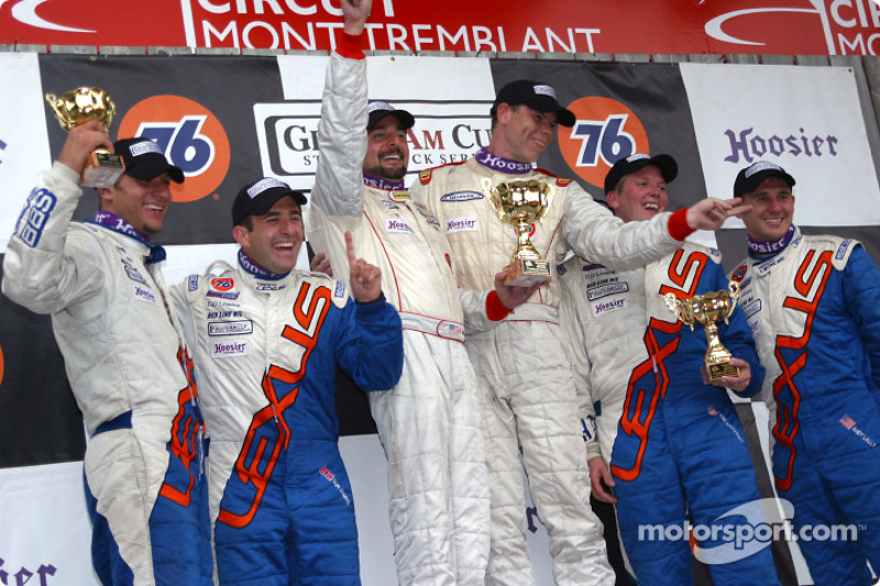 The podium: ST I winners Bransen Patch and Donald Salama with Andy Lally, Tim Gaffney, Ian James and Daniel Dror Jr.