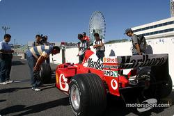 The Ferrari stands in pitlane