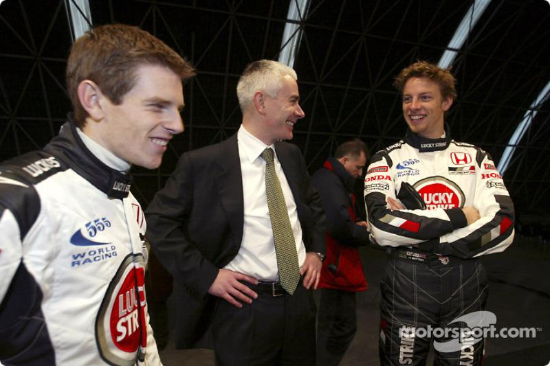 Anthony Davidson, Geoffrey Willis and Jenson Button