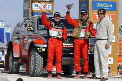 Carlos Sousa and Henri Magne with Dakar Rally organiser Hubert Auriol