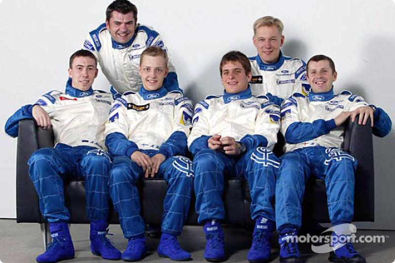 Los pilotos del Ford Focus WRC, Mikko Hirvonen, Francois Duval y Markko Martin con sus copilotos