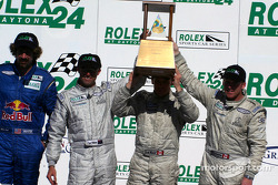 The podium: Daytona Prototype first place #88 Multimatic Motorsports Ford Multimatic: Scott Maxwell, David Brabham, David Empringham