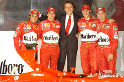Luca di Montezemelo, Felipe Massa, Luca Badoer, Michael Schumacher and Rubens Barrichello with the new Ferrari F2003-GA