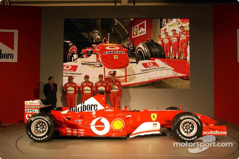 Jean Todt, Felipe Massa, Luca Badoer, Michael Schumacher and Rubens Barrichello with the new Ferrari