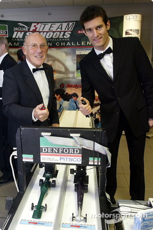 Sir Stirling Moss challenges Jaguar F1 driver Mark Webber to a race at the launch of the NSPCC Coven