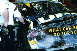 Dale Jarrett's damaged car in garage area