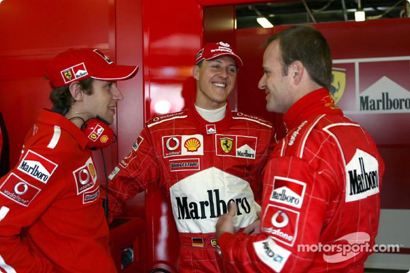 Luca Badoer, Michael Schumacher and Rubens Barrichello