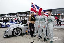 Audi Sport UK drivers Jonny Kane, Perry McCarthy and Mika Salo before the start