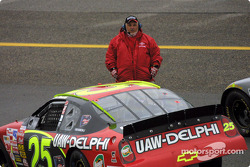 Joe Nemechek waits on official