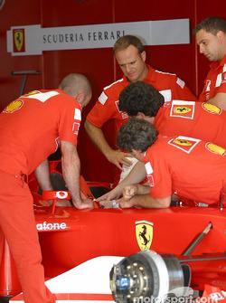 Rubens Barrichello in Ferrari garage area