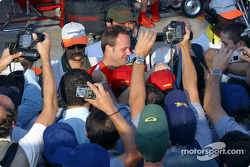 Rubens Barrichello with Brazilian fans