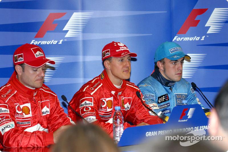 Conferencia de prensa: ganador de la pole de Michael Schumacher con Rubens Barrichello y Fernando Alonso