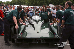 Team Bentley at scrutineering team and car arrives at scrutineering on Quinconces des Jacobins