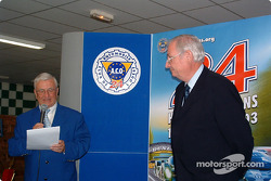 Le Mans awards ceremony: Michel Cosson presents Norbert Singer with the Spirit of Le Mans award