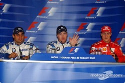 Conferencia de prensa: ganador de la pole Ralf Schumacher con Juan Pablo Montoya y Michael Schumacher