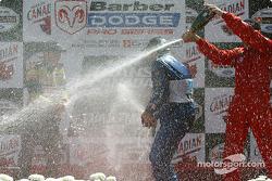 The podium: champagne for Memo Rojas, Colin Fleming and David Martinez