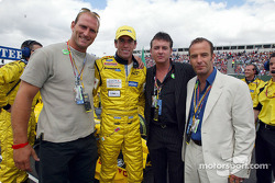 England Rugby international Lawrence Dallaglio with Ralph Firman, actor Shane Ritchie and actor Robson Green