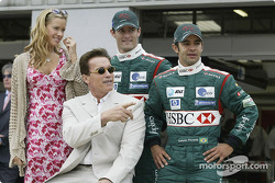 Antonio Pizzonia and Mark Webber with Terminator 3 co-stars Kristanna Loken and Arnold Schwarzenegger