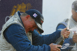 LMP675 podium: champagne shower for Duncan Dayton