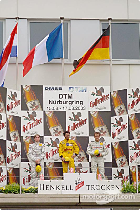 Podium: race winner Laurent Aiello with Christijan Albers and Bernd Schneider
