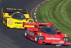 #17 1985 Porsche 962, owned by Bill Hawe leads #16 1991 Porsche 962C, owned by Juan Gonzalez