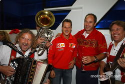 BMW Motorsport Director Gerhard Berger retirement party: Michael Schumacher and Gerhard Berger with musicians