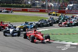 First chicane: Michael Schumacher leads Juan Pablo Montoya