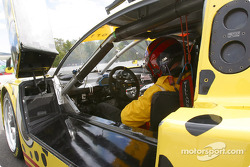 Andy Lally gets ready for qualifying session